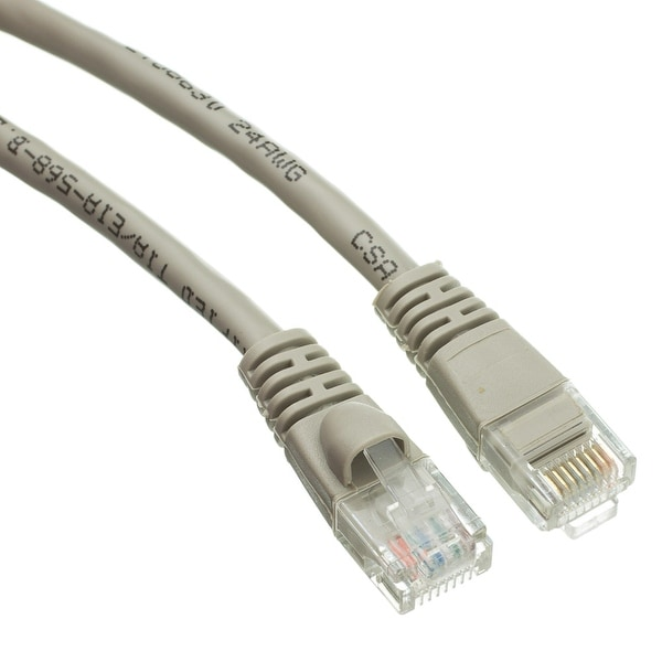 Offex Cat5e Gray Ethernet Patch Cable, Snagless/Molded Boot, 35 foot