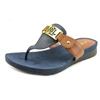 Lauren Ralph Lauren Lakin Women  Open Toe Leather Blue Thong Sandal