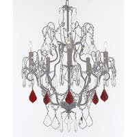 White Wrought Iron Chandelier With Red Crystal