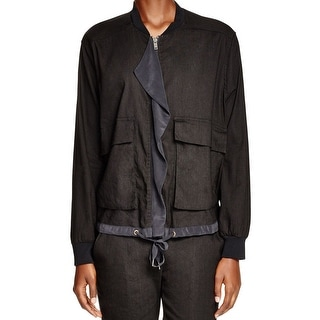 DKNY NEW Black Womens Size Small S Ruffled Pocket-Front Bomber Jacket