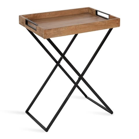 Kate and Laurel Heller Wood and Metal Tray Table
