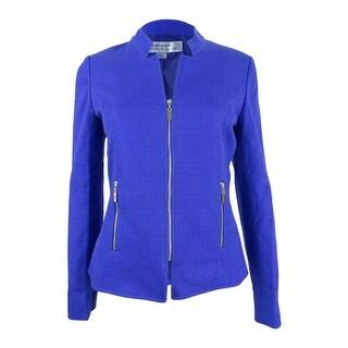Tahari ASL Women's Plus Size Textured Zippered Blazer - lapis