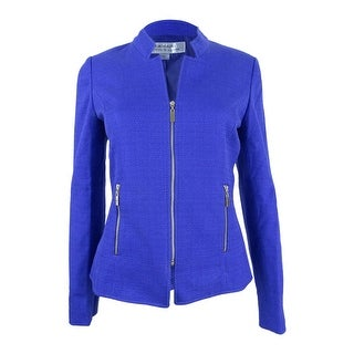 Tahari ASL Women's Textured Zippered Blazer - lapis