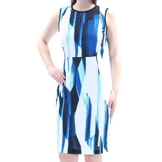 Womens Blue Striped Sleeveless Knee Length Sheath Wear To Work Dress Size: 10