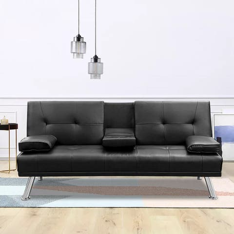 Convertible Sofa Bed with Armpad Recliner Couch by TiramisuBest-Black