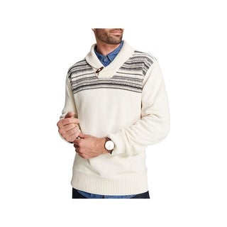 cb368548a9a4f1 Shop Weatherproof Vintage Mens Shawl-Collar Sweater Toggle-Butt Striped -  Free Shipping On Orders Over $45 - Overstock - 23105838