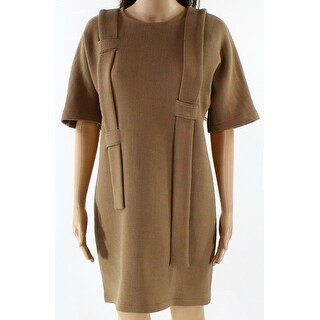 Silvae NEW Brown Womens Size Small S Solid Textured Woven Shift Dress