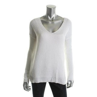Theory Womens Dafna Linen Blend Long Sleeves Pullover Sweater - S