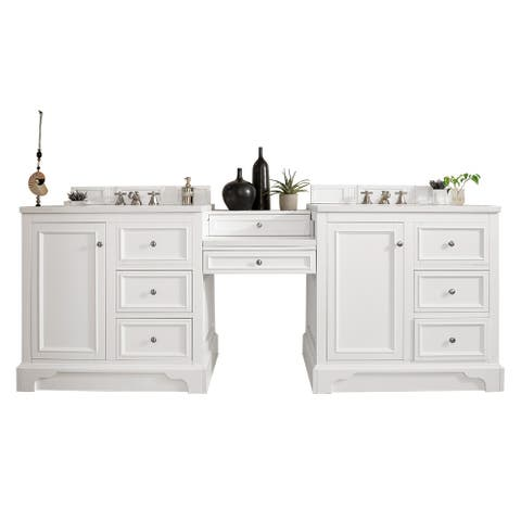 "De Soto 94"" Double Vanity Set, Bright White with Makeup Table"