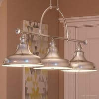 """Luxury Industrial Chandelier, 23.5""""H x 52.5""""W, with Americana Style, LinearPolished Silver Finish"""