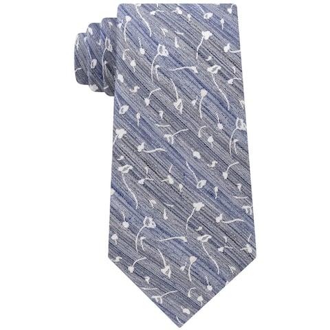 Calvin Klein Mens Indigo Flower Self-tied Necktie, blue, One Size - One Size