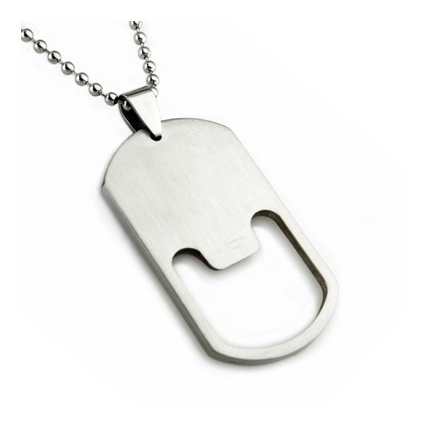 Stainless Steel Bottle Opener Dog Tag Pendant - 24 inches
