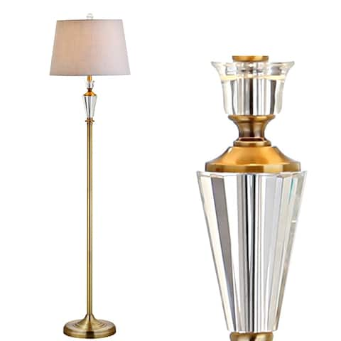 """Harper 61"""" Crystal / Metal LED Floor Lamp, Brass Gold/Clear - Brass Gold/Clear - 61"""" H x 15"""" W x 15"""" D"""