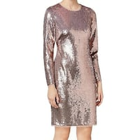Calvin Klein Pink Rose Gold Women's Size 2 Sequin Sheath Dress