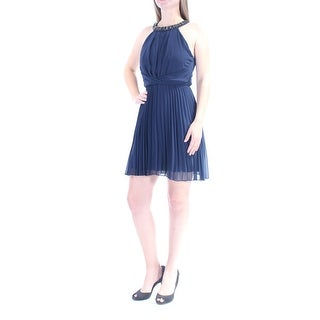 Womens Navy Sleeveless Above The Knee Fit + Flare Dress Size: 5