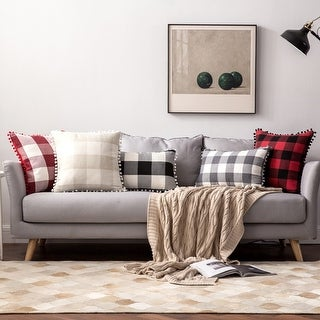 """Link to Buffalo Check Pillow Covers Black and White Plaid Pom Pom Decorative Throw Pillow Covers 18"""" x 18"""" Similar Items in Decorative Accessories"""