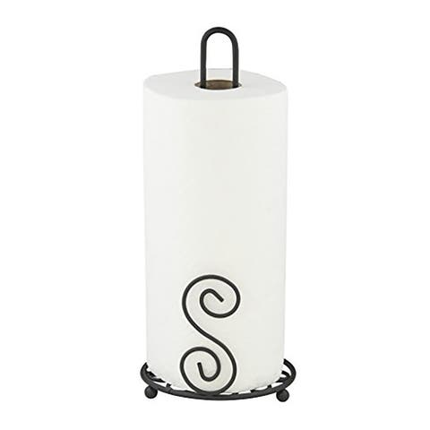 Home Basics Scroll Collection Paper Towel Holder, Bronze, 6x6x13.5 Inches
