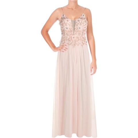 Aidan by Aidan Mattox Womens Evening Dress Beaded Mesh