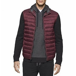 Calvin Klein NEW Red Mens Size XL Full-Zip Puffer Mock-Neck Vest Jacket