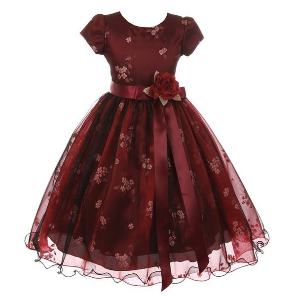 Kiki Kids Little Girls Burgundy Black Mesh Organza Flower Christmas Dress
