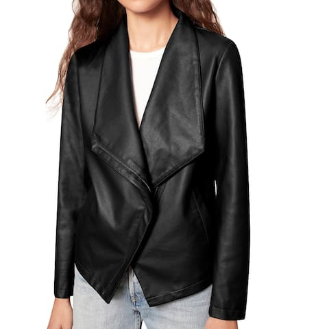 BB Dakota Women's Jacket Classic Black Size XS Flap Collar Zipper Trim