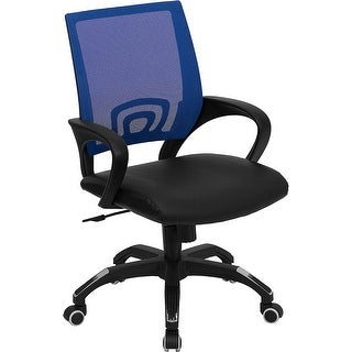 Bridgettine Mid Back Blue Mesh Swivel Leather Home/Office Task Chair W/Arms