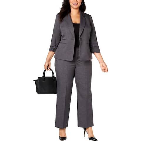 Le Suit Womens Plus One-Button Blazer 3/4 Sleeves Suit Seperate - Steel - 20W
