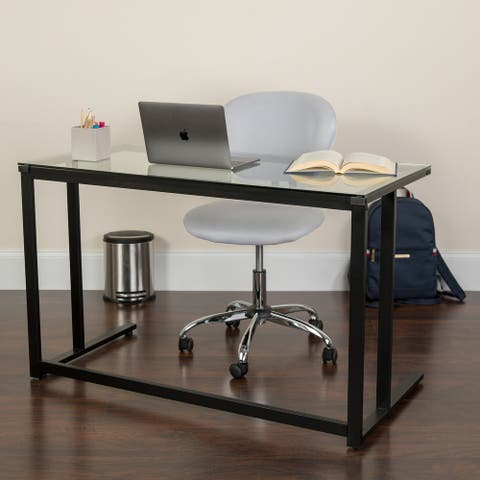 Glass Top Desk with Pedestal Metal Frame - Home Office Furniture