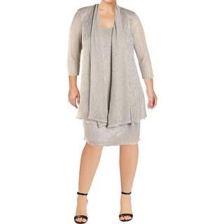 R & M Richards Womens Dress With Jacket 2PC Metallic - 14