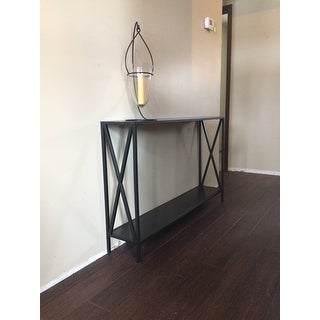 Black Powder-coated Metal Cross Style Console Table