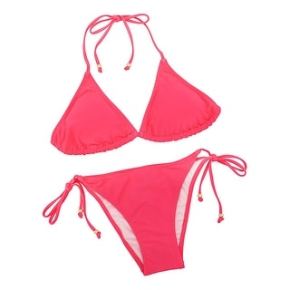 Solid Triangle Top String Bikini Swimsuit