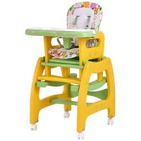 Costway 3 in 1 Baby High Chair Convertible Play Table Seat Booster Toddler Feeding Tray - Yellow