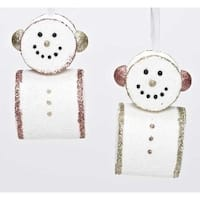 "4.5"" Gold Glitter Embellished Smiling Marshmallow Snowman Christmas Ornament"