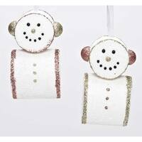 "4.5"" Pink Glitter Embellished Smiling Marshmallow Snowman Christmas Ornament"