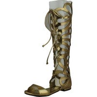 Breckelles Womens Solo-15 Gladiator Sandals - Gold