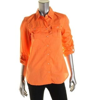 Tommy Hilfiger Womens Cotton Button-Down Top