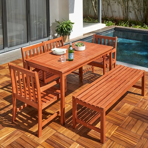 Hanalei Outdoor 6-piece Wood Patio Dining Set with Backless Bench and Chairs