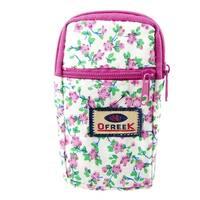 Unique Bargains Pink Flowers Prints Zipper Closure 2-compartment Mobile Phone Wrist Bag