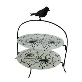 2-Tier Black Crow & Spiders Decorative Glass Plate Stand
