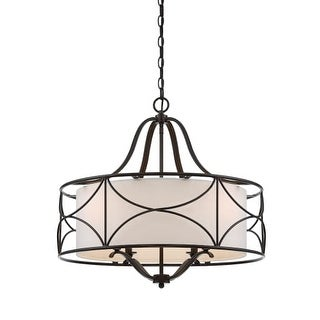 """Designers Fountain 88684-ORB Avara 24"""" Wide 2 Light Chandelier with Fabric Shade"""