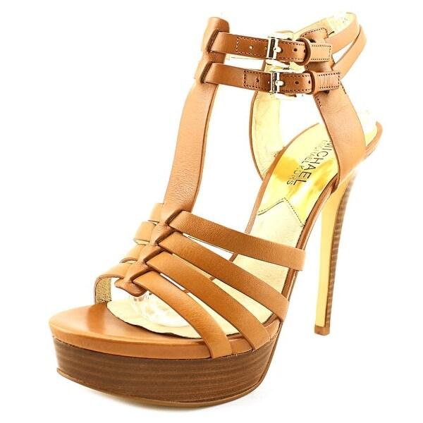 849814169 Michael Michael Kors Georgie T Strap Women Open Toe Leather Tan Platform  Sandal