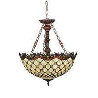 "Meyda Tiffany 124835 Diamond & Jewel 3 Light 18"" Wide Hand-Crafted Pendant with Stained Glass"