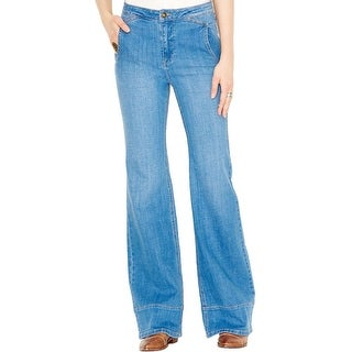 Free People Womens Bell Bottom Jeans High Waist Whisker Wash