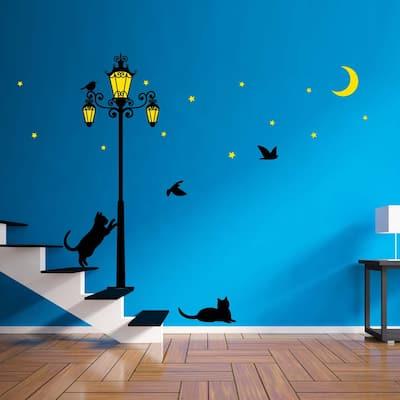 Walplus Glow in Dark Black Cat Street Light Wall Stickers Art Decals