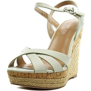Charles By Charles David Astro Women Open Toe Leather White Wedge Sandal