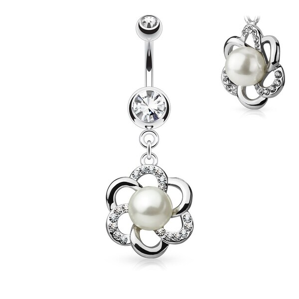 "Pearl Crystal Flower Dangle Surgical Steel Double Jeweled Navel Ring-14GA-3/8"" Length (Sold Ind.)"