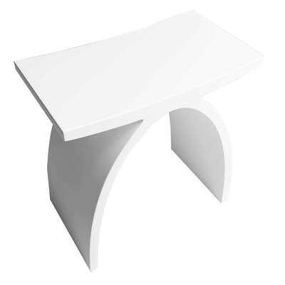 Matte White Solid Surface Vanity Seat