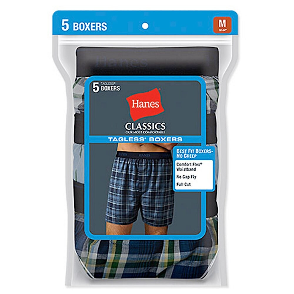 Hanes Mens Yarn Dyed Plaid Boxers 5-Pack