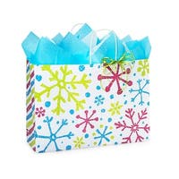 """Pack of 250, Vogue Snowflake Jubilee Paper Bags 16 x 6 x 12"""" For Christmas Packaging, 100% Recyclable,"""