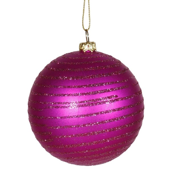 "Cerise Pink Glitter Striped Shatterproof Christmas Ball Ornament 3"" (75mm)"